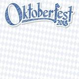Oktoberfest 2018 achtergrond met blauw-wit geruit patroon Royalty-vrije Stock Afbeelding