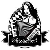 Oktoberfest akordeonu dziewczyny ikony projekt Ilustracja Wektor
