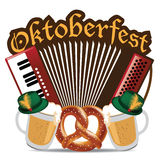 Oktoberfest akordeonu precla piwny projekt Ilustracji