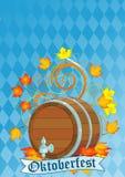 Oktoberfest Auslegung mit Faß Lizenzfreies Stockfoto