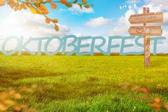 Oktoberfest Background Banner. Green meadow. Blue cloudy sky. Destination panel. Sign post royalty free illustration