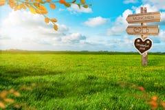 Oktoberfest Background Banner. Green meadow. Gingerbread heart . Destination panel. Sign post vector illustration