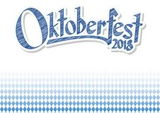 Oktoberfest 2018 background with blue-white checkered pattern Stock Photography