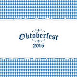 Oktoberfest background with blue-white checkered pattern Stock Photos