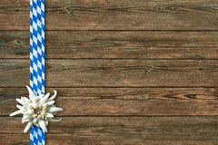 Oktoberfest background with edelweiss and Bavarian ribbon Stock Images