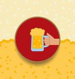Oktoberfest Background with Mug of Beer Stock Photo