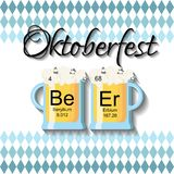 Oktoberfest background template with two beer glasses and word beer made of chemical elements. On traditional diamond blue pattern. Cartoon style vector Stock Photography