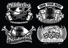 Oktoberfest badge set in black and white Stock Images