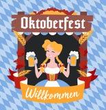 Oktoberfest baner med det roliga tecknad filmteckenet i en krans Arkivfoton