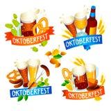Oktoberfest baneruppsättning, isometrisk stil royaltyfria bilder