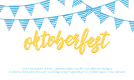 Oktoberfest banner. Background with Oktoberfest hand lettering and checkered buntings. Stock Photo