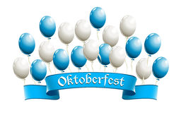 Oktoberfest banner with balloons in traditional colors of Bavari Stock Images