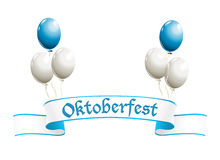 Oktoberfest banner. With balloons in traditional colors of Bavaria Stock Images