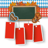 Oktoberfest Banner Blackboard Foliage 4 Price Stickers. German text O zapft is and Oktoberfest, translate on tap and Oktoberfest Royalty Free Stock Photos