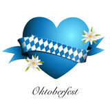 Oktoberfest banner, card with heart and Edelweiss, Greetings to Oktoberfest, heart from Bavarian flag, Stock Images