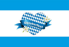 Oktoberfest banner, card with heart, Greetings to Oktoberfest, heart from Bavarian flag, Stock Images