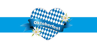 Oktoberfest banner, card with heart, Greetings to Oktoberfest, heart from Bavarian flag, Royalty Free Stock Image
