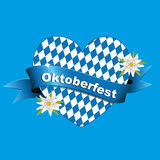 Oktoberfest banner, card with heart, Greetings to Oktoberfest, heart from Bavarian flag, Royalty Free Stock Photos