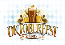 Oktoberfest design with three glasses of beer Royalty Free Stock Image