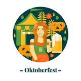 Oktoberfest banner in flat style. Vector illustration for october festival with beer, pretzel, tent and waitress Stock Photos