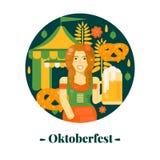 Oktoberfest banner in flat style. Stock Photos