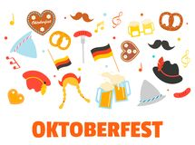 Oktoberfest banner with icons or photo booth props set.. Oktoberfest banner with icons or photo booth props set. Includes hats moustache beer glasses Royalty Free Stock Photos