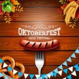 Oktoberfest Banner Illustration with Typography Lettering on Wooden Background. Vector Traditional German Beer Festival vector illustration