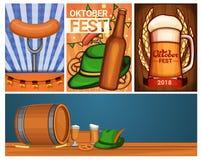 Oktoberfest banner set, cartoon style stock illustration