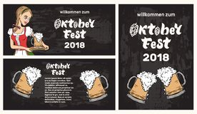 Oktoberfest banner template with waitress in traditional costume royalty free illustration