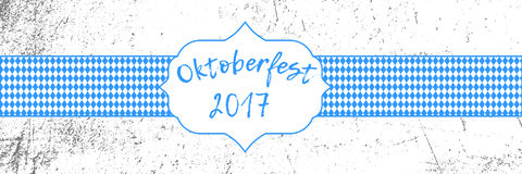 Oktoberfest 2017 banner with traditional October festival Bavarian flag pattern and label. Oktoberfest 2017 banner with traditional October festival Bavarian Royalty Free Stock Images