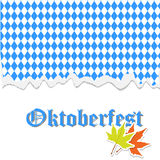 Oktoberfest banner with traditional October festival Bavarian flag pattern. With torn paper, typography lettering, autumn maple leaves. Vector illustration for Stock Photo