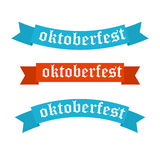 Oktoberfest banners in bavarian colors . Stock Photo