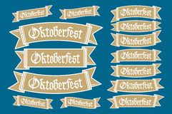 Oktoberfest banners in bavarian colors vector set. Bavaria festival white and blue Oktoberfest ribbon. Munich design national icon Stock Photos
