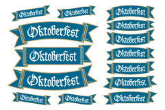 Oktoberfest banners in bavarian colors vector set. Bavaria festival white and blue Oktoberfest ribbon. Munich design national icon Royalty Free Stock Photo