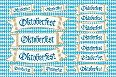 Oktoberfest banners in bavarian colors vector set. Bavaria festival white and blue Oktoberfest ribbon. Munich design national icon Royalty Free Stock Images