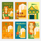 Oktoberfest banners and cards in flat style Royalty Free Stock Photography