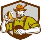 Oktoberfest Bavarian Beer Drinker Shield Retro Stock Photo