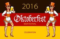 Oktoberfest bavarian girl. Oktoberfest vector illustration. background of the flag of Germany. Stock Photo
