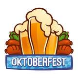 Oktoberfest bavarian logo, cartoon style stock illustration