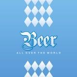 Oktoberfest Beer all over the world Bavarian blue background. Vector Stock Image