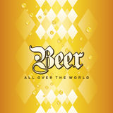 Oktoberfest Beer all over the world Bavarian gold yellow drops background. Vector Stock Image