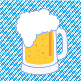 Oktoberfest Beer. A Bavarian beer mug on blue and white checkered background Royalty Free Stock Photos