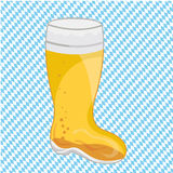 Oktoberfest Beer. A Bavarian beer mug on blue and white checkered background Stock Photos