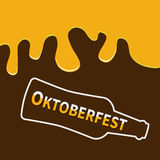 Oktoberfest Beer bottle and Flowing down alcohol. Flat design Brown background Stock Image
