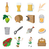 Oktoberfest beer cartoon icons set. Beer, food, people on a white background Stock Photo