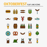 Oktoberfest Beer Colorful Flat Line Icons Set. Oktoberfest Colorful Flat Line Icons Set. Vector Set of October Holiday Modern Outline Icons for Web and Mobile Stock Image