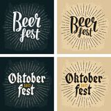 Oktoberfest 2017 and Beer Fest lettering with rays Royalty Free Stock Images