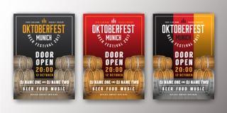 2017 Oktoberfest beer festival advertisement poster template. Oktoberfest background for flyer cover, billboard, invitation card design. Vector illustration Stock Photos