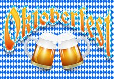 Oktoberfest beer festival background with two mugs of beer with foam and on blue with white Argyle pattern. Vector illustration vector illustration