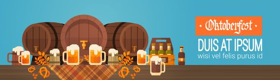 Oktoberfest Beer Festival Banner Wooden Barrel With Glass Mugs Holiday Decoration  Royalty Free Stock Photos